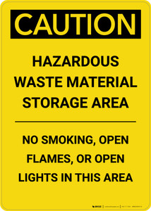 Caution: Hazardous Waste Material Storage Area - Portrait Wall Sign