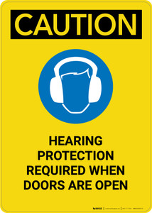 Caution: Hearing Protection Required When Doors Open - Portrait Wall Sign