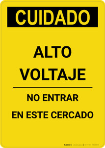 Caution: High Voltage Do Not Enter Enclosure Spanish - Portrait Wall Sign