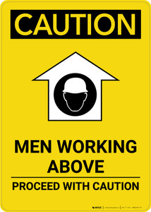 Caution: Men Working Above Proceed With Caution - Portrait Wall Sign