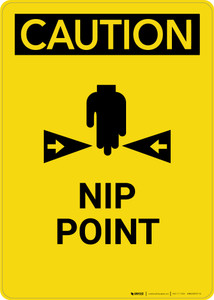Caution: Nip Point - Portrait Wall Sign