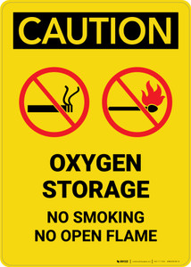 Caution: Oxygen Storage No Smoking Open Flame with Graphic - Portrait Wall Sign