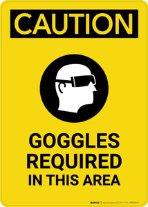 Caution: PPE Goggles Required in This Area With Graphic - Portrait Wall Sign