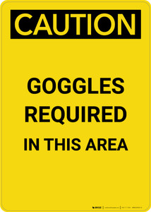 Caution: PPE Goggles Required in This Area - Portrait Wall Sign