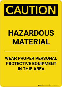 Caution: PPE Hazardous Material Wear PPE in This Area - Portrait Wall Sign