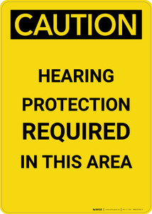 Caution: PPE Hearing Protection Required in this Area - Portrait Wall Sign