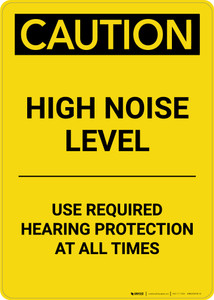 Caution: PPE High Noise Level Use Required Hearing Protection - Portrait Wall Sign