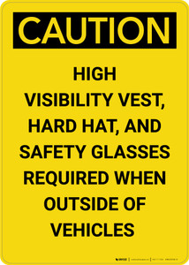 Caution: PPE Required Outside Vehicles - Portrait Wall Sign