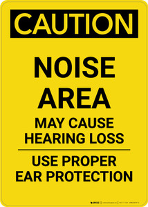 Caution: PPE Noise Area May Cause Hearing Loss Use Hearing Protection - Portrait Wall Sign