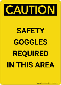 Caution: PPE Safety Goggles Required in This Area - Portrait Wall Sign