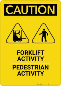 Caution: Forklift Activity Pedestrian Activity - Portrait Wall Sign