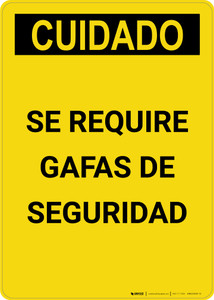 Caution: Safety Glasses Required Spanish - Portrait Wall Sign