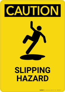 Caution: Slipping Hazard - Portrait Wall Sign
