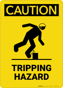 Caution: Tripping Hazard with graphic - Portrait Wall Sign