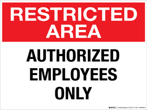 Restricted Area: Authorized Employees Only - Wall Sign
