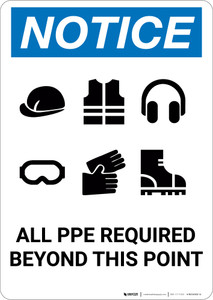 Notice: All Ppe Required Six PPE Icons - Portrait Wall Sign