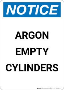 Notice: Argon Empty Cylinders - Portrait Wall Sign