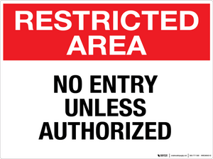 Restricted Area: No Entry Unless Authorized - Wall Sign