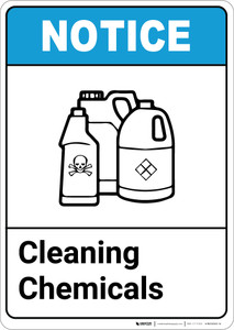 Notice: Cleaning Chemicals ANSI with Icon - Portrait Wall Sign