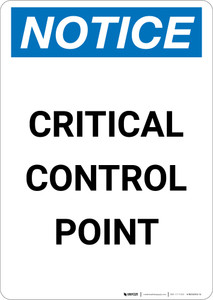 Notice: Critical Control Point - Portrait Wall Sign