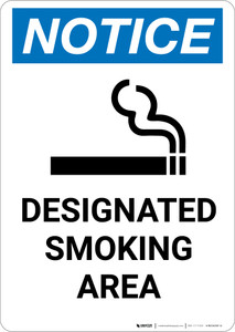Notice: Designated Smoking Area with Icon - Portrait Wall Sign