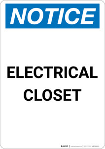 Notice: Electrical Closet - Portrait Wall Sign