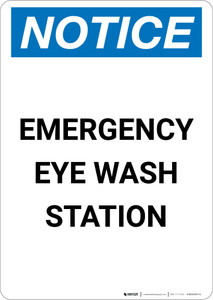Notice: Emergency Eyewash Station - Portrait Wall Sign
