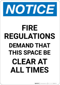 Notice: Emergency Fire Space Clear - Portrait Wall Sign