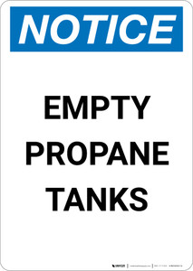 Notice: Empty Propane Tanks - Portrait Wall Sign
