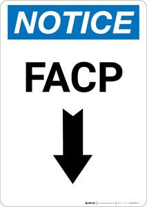 Notice: FACP Down Arrow - Portrait Wall Sign