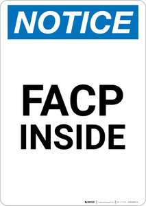 Notice: FACP Inside - Portrait Wall Sign