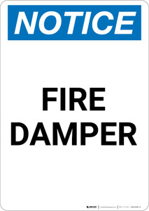 Notice: Fire Damper - Portrait Wall Sign