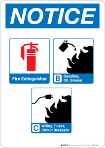 Notice: Fire Extinguisher and Flammable Materials with Icons - Portrait Wall Sign