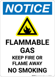 Notice: Flammable Gas Keep Fire Or Flame Away with Icon - Portrait Wall Sign