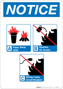 Notice: Flammable Materials with Icons - Portrait Wall Sign