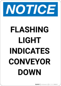 Notice: Flashing Light Indicates Conveyor Down - Portrait Wall Sign
