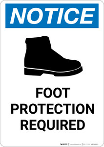 Notice: Foot Protection Required with Icon - Portrait Wall Sign