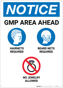 Notice: GMP Area Ahead - Portrait Wall Sign