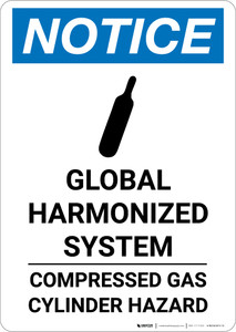 Notice: Global Harmonized System Compressed Gas Cylinder Hazard - Portrait Wall Sign
