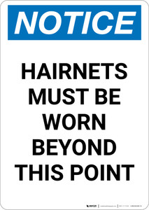 Notice: Hairnets Must Be Worn Beyond This Point - Portrait Wall Sign