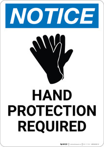 Notice: Hand Protection Required with Icon - Portrait Wall Sign