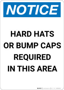 Notice: Hard Hats or Bump Caps Required in This Area - Portrait Wall Sign