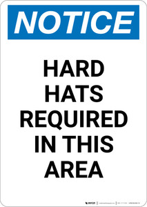 Notice: Hard Hats Required In This Area - Portrait Wall Sign