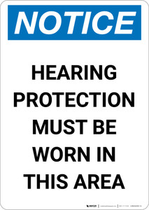 Notice: Hearing Protection Must Be Worn In Area - Portrait Wall Sign