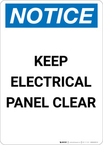 Notice: Keep Electrical Panel Clear - Portrait Wall Sign