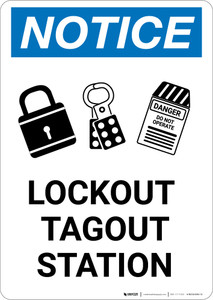 Notice: Lockout Tagout Station with Graphic - Portrait Wall Sign