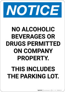 Notice: No Alcoholic Beverages or Drugs Permitted on Company Property - Portrait Wall Sign