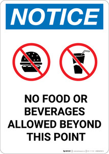 Notice: No Food Or Beverages Allowed Beyond This Point with Icons - Portrait Wall Sign