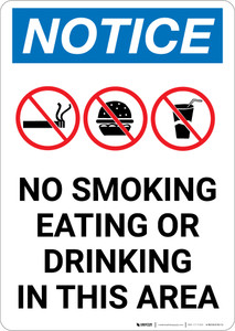Notice: No Smoking Eating Or Drinking In This Area with Icons - Portrait Wall Sign