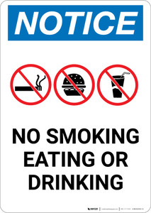Notice: No Smoking Eating Or Drinking with Icons - Portrait Wall Sign